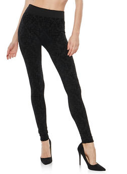 Velvet Burnout Leggings - 1059062905501