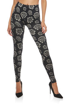 Floral Terry Lined Leggings - 1059062906001