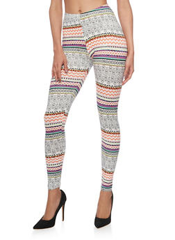 Mixed Print Leggings - 1059062906137