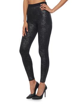 High Waisted Fleece Leggings with Zebra Print - 1059062906249