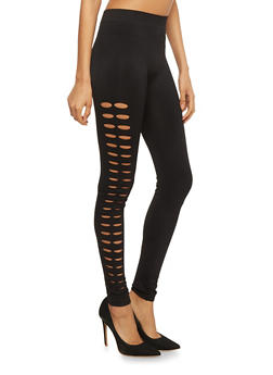 Solid Leggings with Slashed Sides - 1059062906315