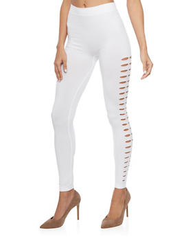 Solid Leggings with Slashed Sides - WHITE - 1059062906315