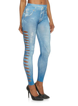 Denim Print Slashed Side Leggings - 1059062906497