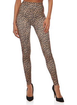 Leopard Print Leggings with Lasercut Sides - 1059062906578