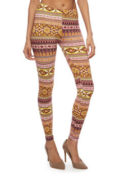 Border Print Soft Knit Leggings - 1059062907186