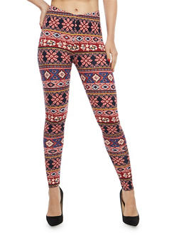Mixed Print Soft Knit Leggings - 1059062907193