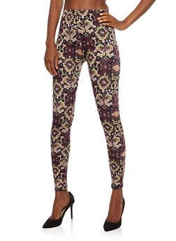 Soft Knit Printed Leggings - 1059062907270