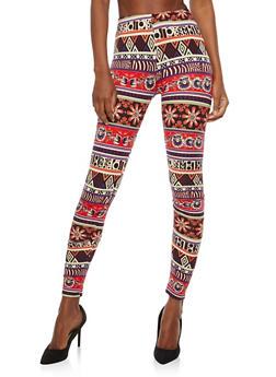 Soft Knit Aztec Border Print Leggings - 1059062907368