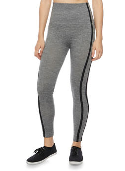 High Waisted Leggings with Striped Trim - 1059069023226