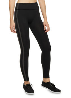 Leggings with Side Stripes and Fleece Lining - 1059069023254