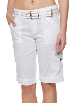 Cargo Shorts with Striped Belt - 1060038342741