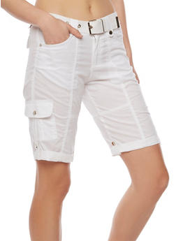 Belted Cargo Bermuda Shorts with Tabbed Cuffs - 1060038348240