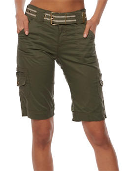 Belted Military Cargo Bermuda Shorts - 1060038348241