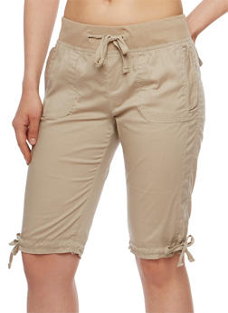 Solid Bermuda Shorts with Knit Waistband - 1060038348251