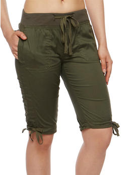 Solid Bermuda Shorts with Knit Waistband - OLIVE - 1060038348251