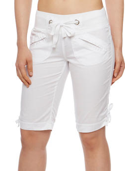 Cuffed Bermuda Shorts with Knit Waist - 1060038348253