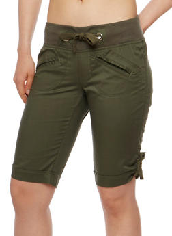 Cuffed Bermuda Shorts with Knit Waist - OLIVE - 1060038348253