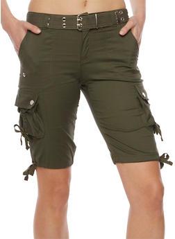 Belted Cargo Bermuda Shorts - 1060038348257