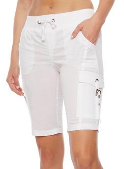 Bermuda Cargo Shorts with Tie Waist - WHITE - 1060038348260