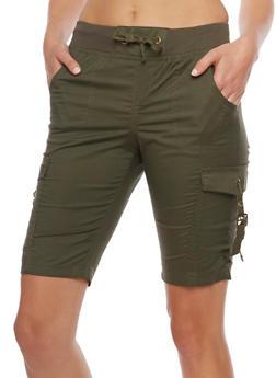 Bermuda Cargo Shorts with Tie Waist - OLIVE - 1060038348260