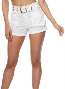 Belted Cargo Shorts - WHITE - 1060038348270
