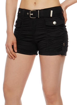 Ruched Cargo Shorts with Belt - 1060038348272