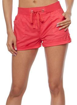 Rib Knit Drawstring Waist Shorts with Tabbed Cuffs - 1060038348278