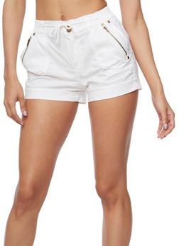 Cuffed Twill Shorts with Drawstring Waist - WHITE - 1060038348282