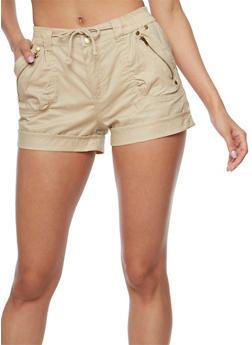 Cuffed Twill Shorts with Drawstring Waist - 1060038348282