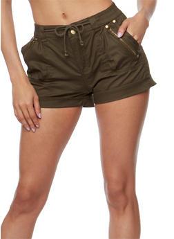 Cuffed Twill Shorts with Drawstring Waist - OLIVE - 1060038348282