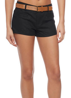Linen Shorts with Floral Lazer Cut Belt - 1060051061064