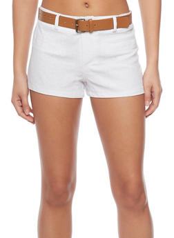 Linen Shorts with Floral Lazer Cut Belt - WHITE - 1060051061064
