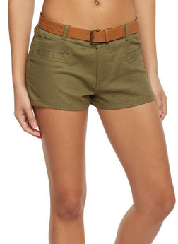 Linen Shorts with Floral Lazer Cut Belt - OLIVE - 1060051061064