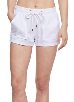 Cuffed Linen Shorts with Drawstring Waist - WHITE - 1060051061065