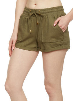 Cuffed Linen Shorts with Drawstring Waist - OLIVE - 1060051061065