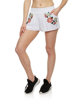 Embroidered Floral Shorts - 1060051061567