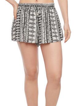 Smock Waist Printed Shorts - BLK-WHT 51586 - 1060051061571