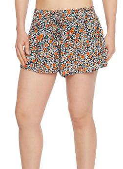 Smock Waist Printed Shorts - NAVY - 1060051061571