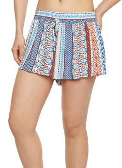 Smock Waist Printed Shorts - CORAL 40-0214B - 1060051061571