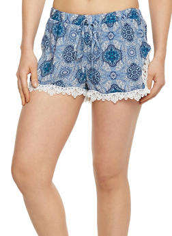 Printed  Shorts with Crochet Trim - BLUE 20886 - 1060051061575