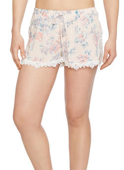 Printed  Shorts with Crochet Trim - LT PINK 51575 - 1060051061575