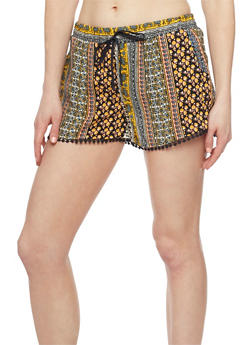 Patterned Shorts with Crochet Trim - 1060051061590