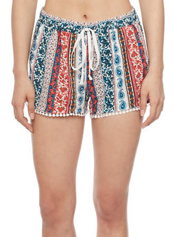 Patterned Shorts with Crochet Trim - PINK 51563 - 1060051061590