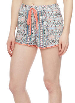 Patterned Shorts with Crochet Trim - CORAL 51590 - 1060051061590