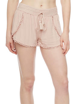 Smocked Waist Draped Shorts with Crochet Trim - 1060051061591