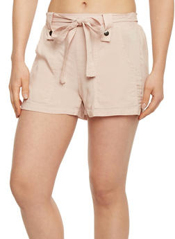 Soft Knit Shorts with Tie Belt - BLUSH - 1060051061600