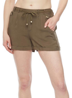 Soft Knit Fixed Cuff Shorts with Tie Front - OLIVE - 1060051061601