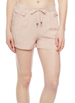 Soft Knit Fixed Cuff Shorts with Tie Front - BLUSH - 1060051061601