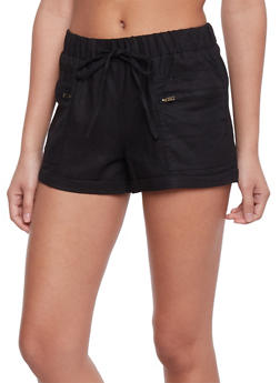 Drawstring Shorts with Zippered Side Pockets - 1060051061603