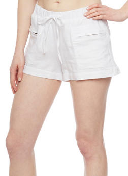 Drawstring Shorts with Zippered Side Pockets - WHITE - 1060051061603
